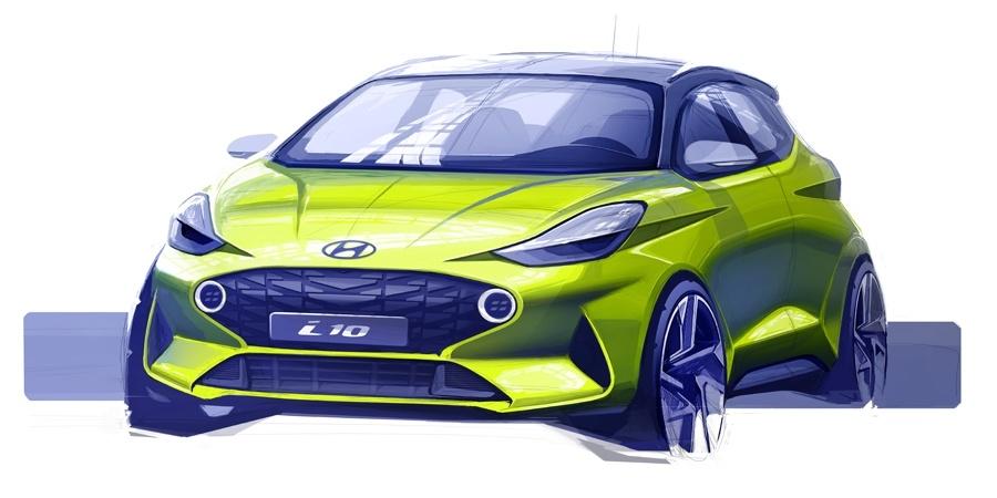 Hyundai yeni i10'un ilk çizimlerini paylaştı
